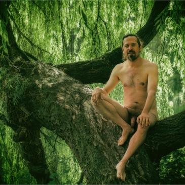Nackter Mann sitzt im Baum
