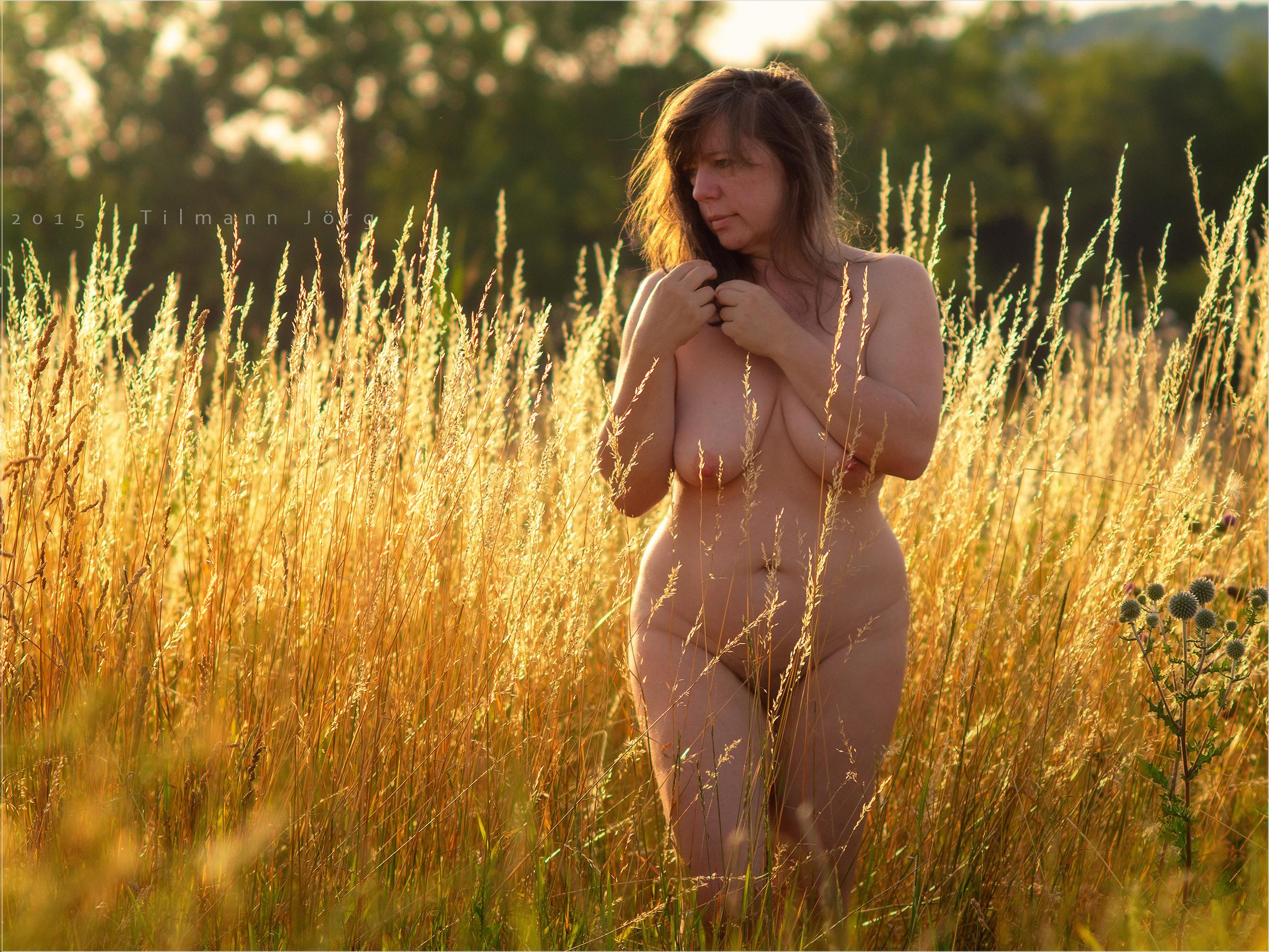 nackte Frau steht in goldgelber Sommerwiese